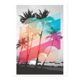 Modern Color stripes coconut trees background Postcard