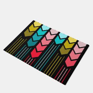 Modern Colorful Arrows Pattern On Black Doormat