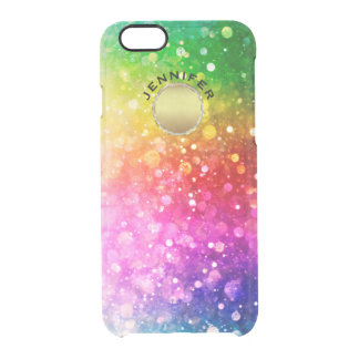 Modern Colorful Bokeh Glitter Gold Circle Accent Clear iPhone 6/6S Case