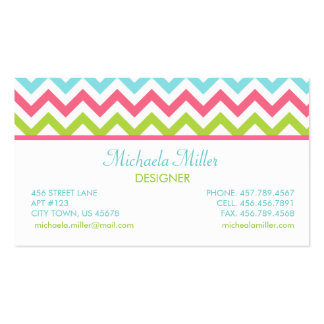 Modern Colorful Chevron Zigzag Pattern Business Cards