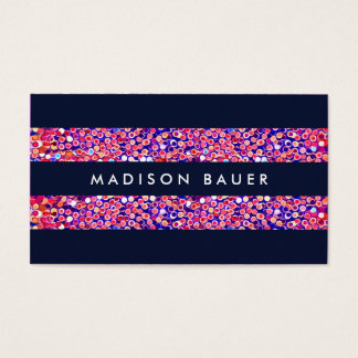 Modern Colorful Confetti Stripes Business Card