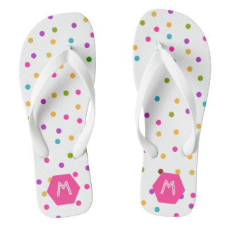 Modern Colorful Confetti White Flip Flop