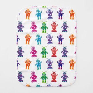 Modern Colorful Crazy Robot Baby Burp Cloths