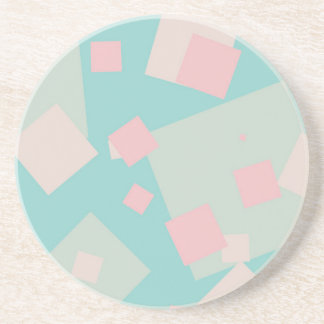Modern colorful cyan and pink boxes pattern coaster