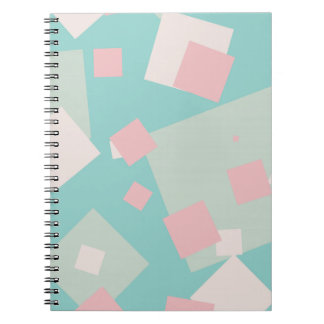 Modern colorful cyan and pink boxes pattern notebook