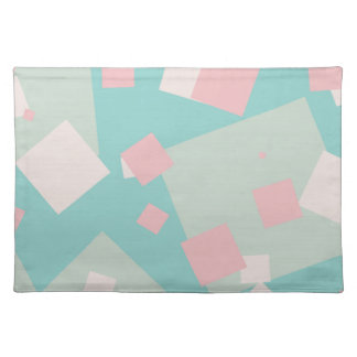 Modern colorful cyan and pink boxes pattern placemat