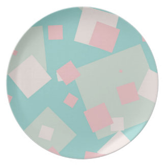 Modern colorful cyan and pink boxes pattern plate