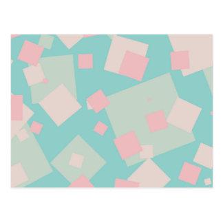 Modern colorful cyan and pink boxes pattern postcard