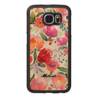 Modern Colorful Flowers Collage Monogram Wood Phone Case