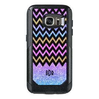 Modern Colorful Glitter & Black Chevron OtterBox Samsung Galaxy S7 Case