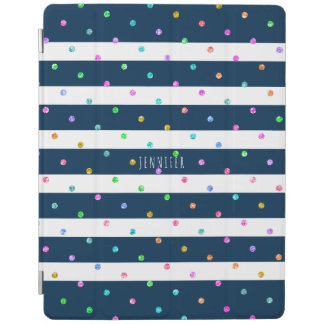 Modern Colorful Glitter Dots Blue & White Stripes iPad Cover