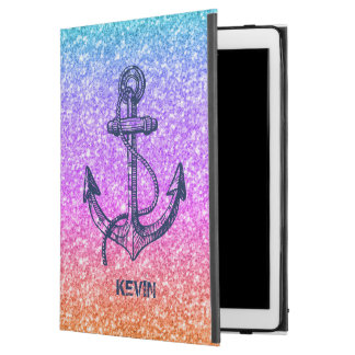 """Modern Colorful Glitter Texture & Blue Boat Anchor iPad Pro 12.9"""" Case"""