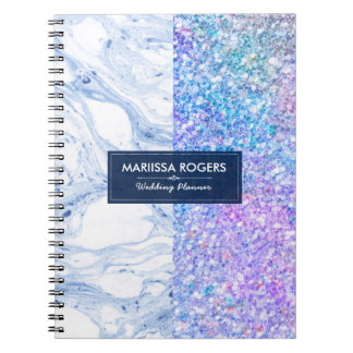 Modern Colorful Glitter White & Blue Marble Spiral Note Books