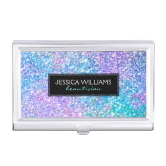 Modern Colorful Glitter With Black Accent Business Card Holder
