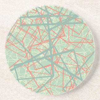 Modern colorful green and orange boxes pattern coaster