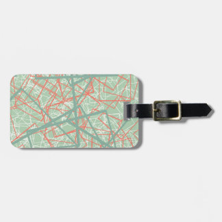 Modern colorful green and orange boxes pattern luggage tag