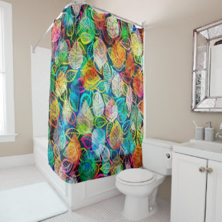 Modern Colorful Leafs Pattern Shower Curtain