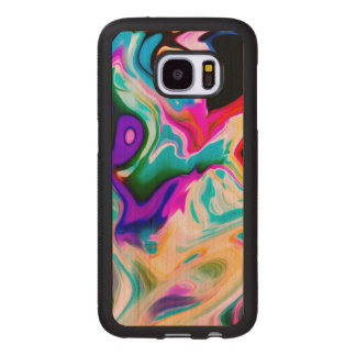 Modern Colorful Marble Swirls Design Wood Samsung Galaxy S7 Case