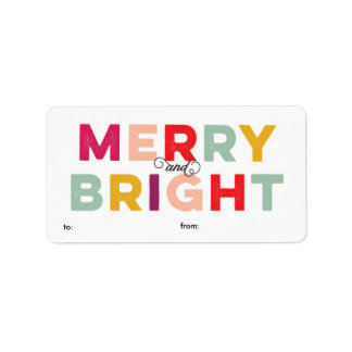 Modern Colorful Merry and Bright Gift Label Address Label