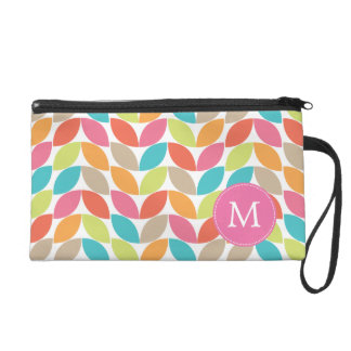 Modern Colorful Pattern Monogrammed Wristlet Purses
