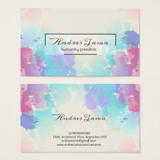Modern Colorful Pink Blue Watercolor Business Card