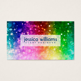 Modern Colorful Rainbow Glitter Burst Business Card