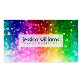 Modern Colorful Rainbow Glitter Burst Pack Of Standard Business Cards