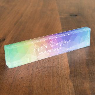 Modern Colorful Rainbow Polygonal - Desk Nameplate