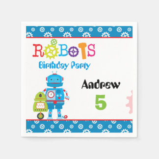 Modern Colorful Robots Boy Birthday Party Disposable Napkin