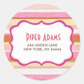Modern Colorful Striped Address Stickers
