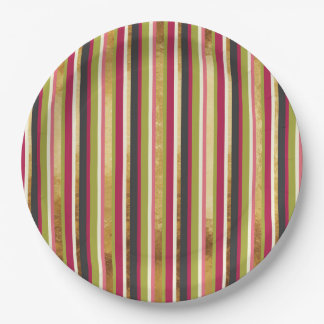 Modern Colorful Stripes in Gold Leaf Pink Green Paper Plate