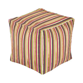 Modern Colorful Stripes in Gold Leaf Pink Green Pouf