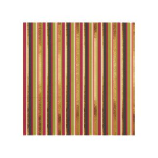 Modern Colorful Stripes in Gold Leaf Pink Green Wood Print