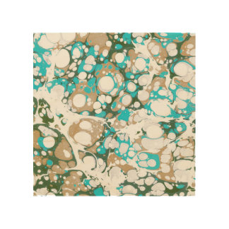 Modern colorful teal brown abstract paint pattern wood wall art