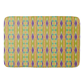 Modern Colorful Trendy Tribal Aztec Geo Pattern Bath Mat