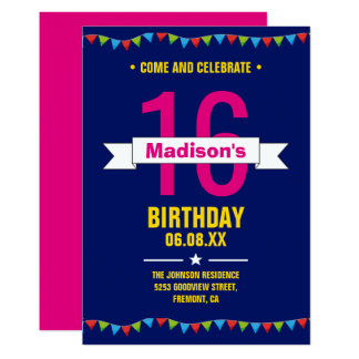 Modern Colorful Typography 16th Birthday Party Card
