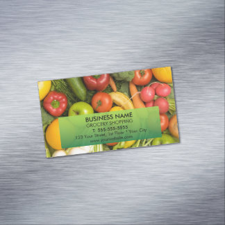 Modern Colorful Vegetables Grocery Magnetic Business Cards (Pack Of 25)