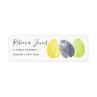 MODERN COLORFUL WATERCOLOR EASTER EGGS ADDRESS RETURN ADDRESS LABEL
