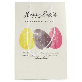 MODERN COLORFUL WATERCOLOR EASTER EGGS PERSONALIZE MEDIUM GIFT BAG