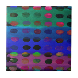 Modern Colorful Watercolor Spots and Stripes Ceramic Tile