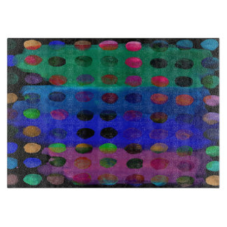 Modern Colorful Watercolor Spots and Stripes Cutting Board