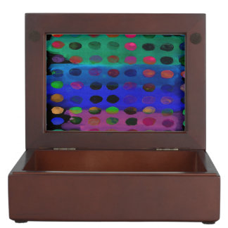 Modern Colorful Watercolor Spots and Stripes Keepsake Box