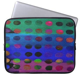 Modern Colorful Watercolor Spots and Stripes Laptop Sleeve