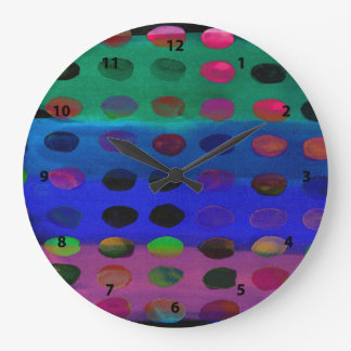 Modern Colorful Watercolor Spots and Stripes Large Clock