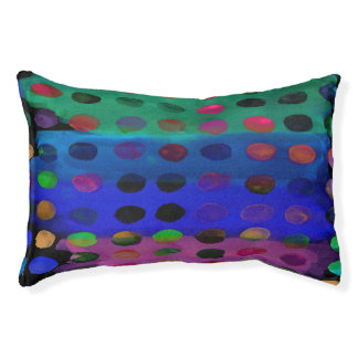 Modern Colorful Watercolor Spots and Stripes Pet Bed