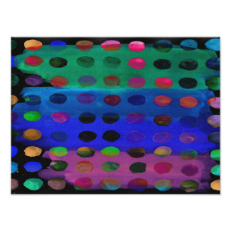 Modern Colorful Watercolor Spots and Stripes Photographic Print