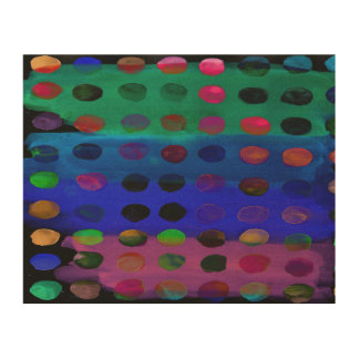 Modern Colorful Watercolor Spots and Stripes Wood Canvas