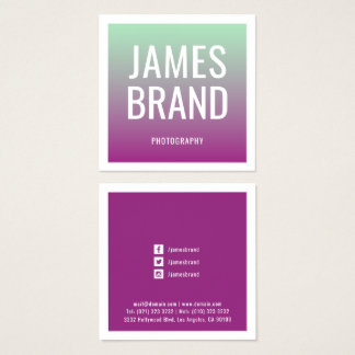 Modern Colour Gradient Transition Square Business Card