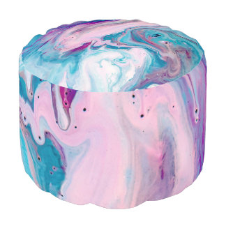 Modern Colourful Abstract Marble Swirls Pouf
