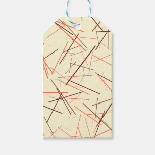 Modern colourful brown and orange line pattern gift tags